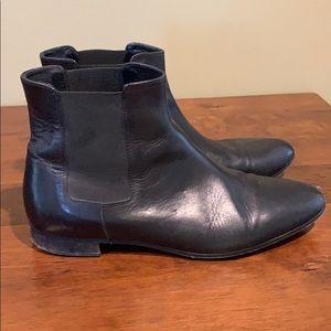J Crew Ladies Black Leather Booties.